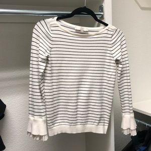 Loft long sleeve striped top with ruffle sleeve